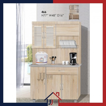 4ft High Kitchen Cabinet with Glass Door & Dish Rack